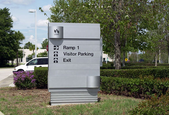 Wayfinding Signage Design Image USAA2. The Design Office of Steve Neumann and Friends, Houston, Texas, 713.629.7501